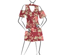Moa Moa Women's Cold Shoulder Floral Dress, Maroon