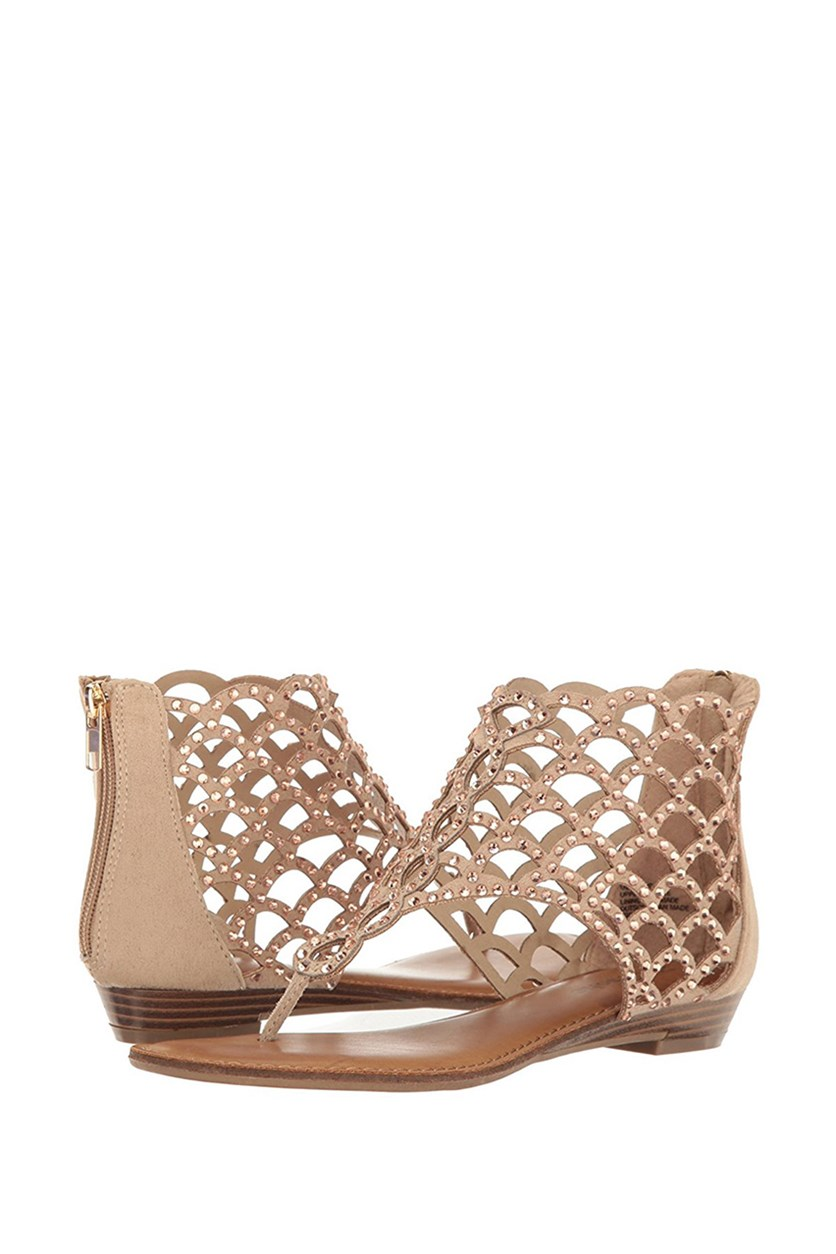 Mela Caged Flat Thong Sandals, Cinnamon