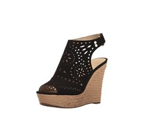 Marc Fisher Harlea Platform Wedge Sandals, Black Suede