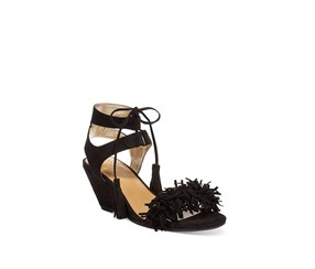 Material Girl Haniya Fringe Wedge, Black