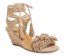 Material Girl Haniya Fringe Wedge Sandals, Natural