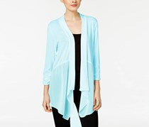 NY Collection Open-Front Chiffon Cardigan, Chambray Blue