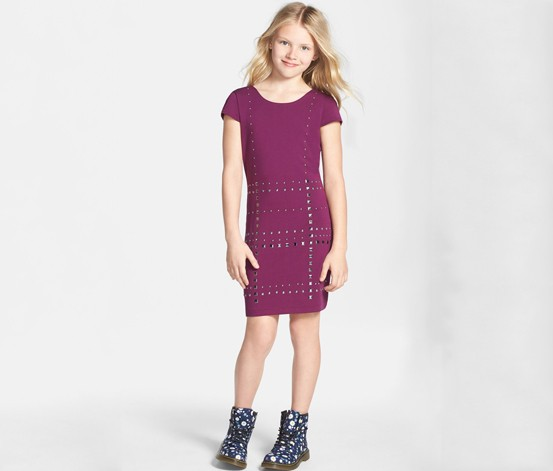 Girl's Nicole Miller Studded Ponte Knit Dress, Burgundy