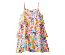 Nicole Miller Big Girls' Floral Tiered Dress,Blue Atoll