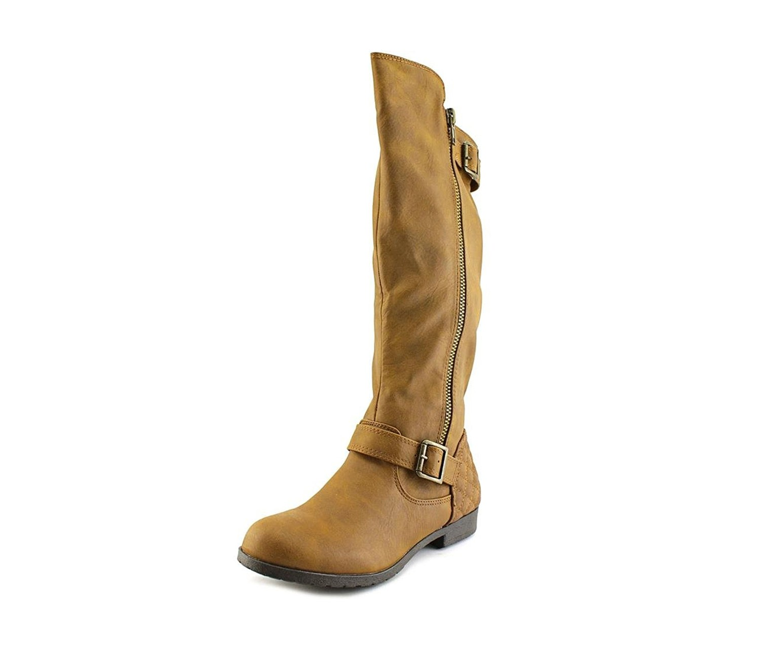 toe synthetic brown knee high boot cognac