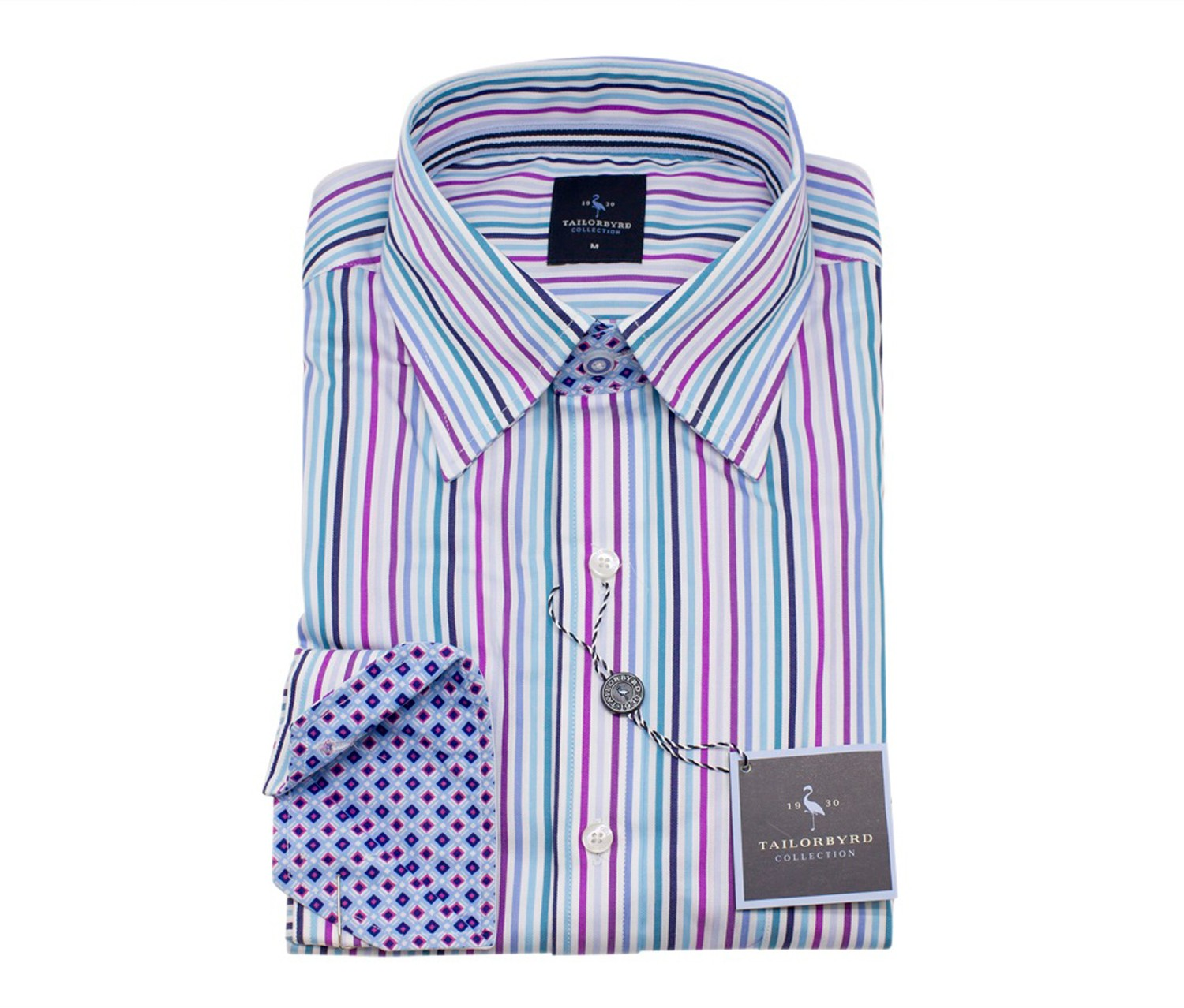 TailorByrd Multi Striped Long Sleeve Shirt, Turquoise
