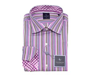 TailorByrd Multi Striped Long Sleeve Shirt, Orchid