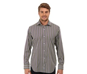 TailorByrd Men's Striped Long Sleeve Shirt,Lime
