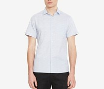 Kenneth Cole New York Mens Abstract-Print Pocket Shirt, Dusty Blue