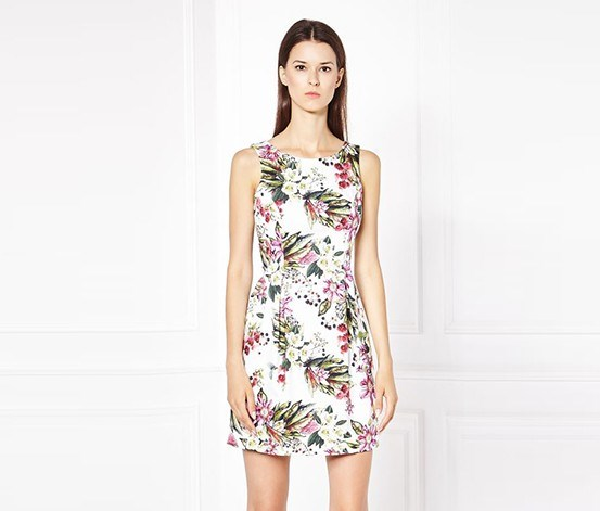Floral Printed Dress, White