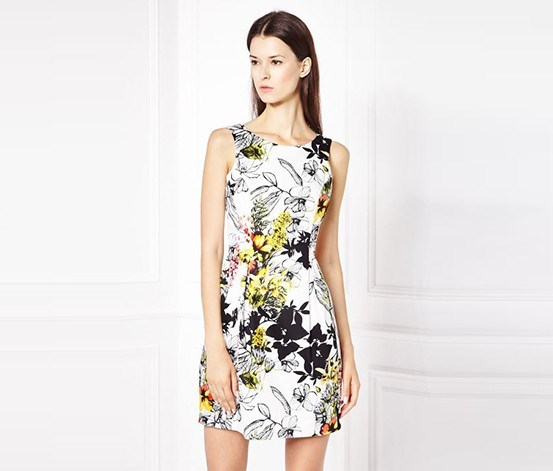 Women Allover Floral Dress, White