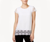 Kensie Short-Sleeve Lace-Contrast Top, White