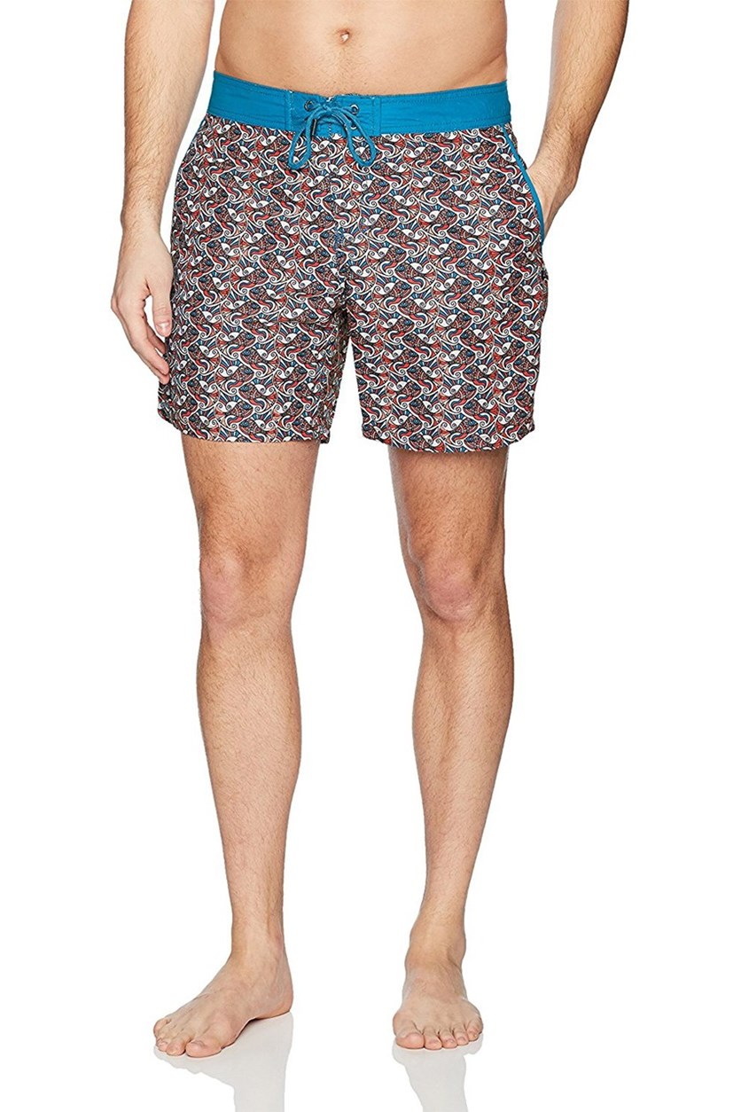 Mr. Swim Men's Fish Swirls Print Swim Trunk, Orange