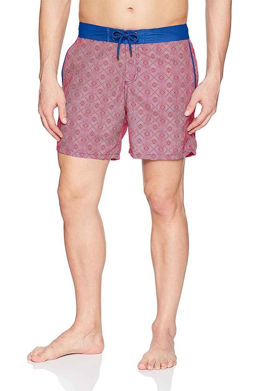 Mr. Swim Mens Maze Chuck Swim Trunks, Red