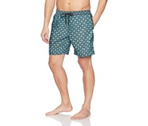 Mr. Swim Men's Dale Print Swim Trunks, Turquoise/Black