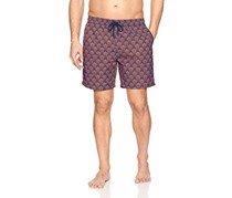 Mr. Swim Men's Dale Print Swim Trunks,  Navy/Coral