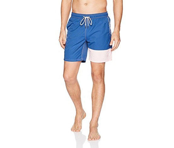 76e548abd5 Mr. Swim Men's Solid Contrast Dale Elastic Swim Trunk, Blue/Pink ...