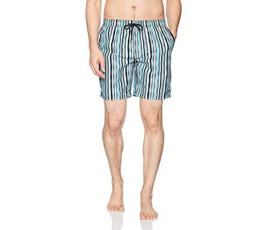 Men's Wavy Stripe Board Shorts. Black/Blue