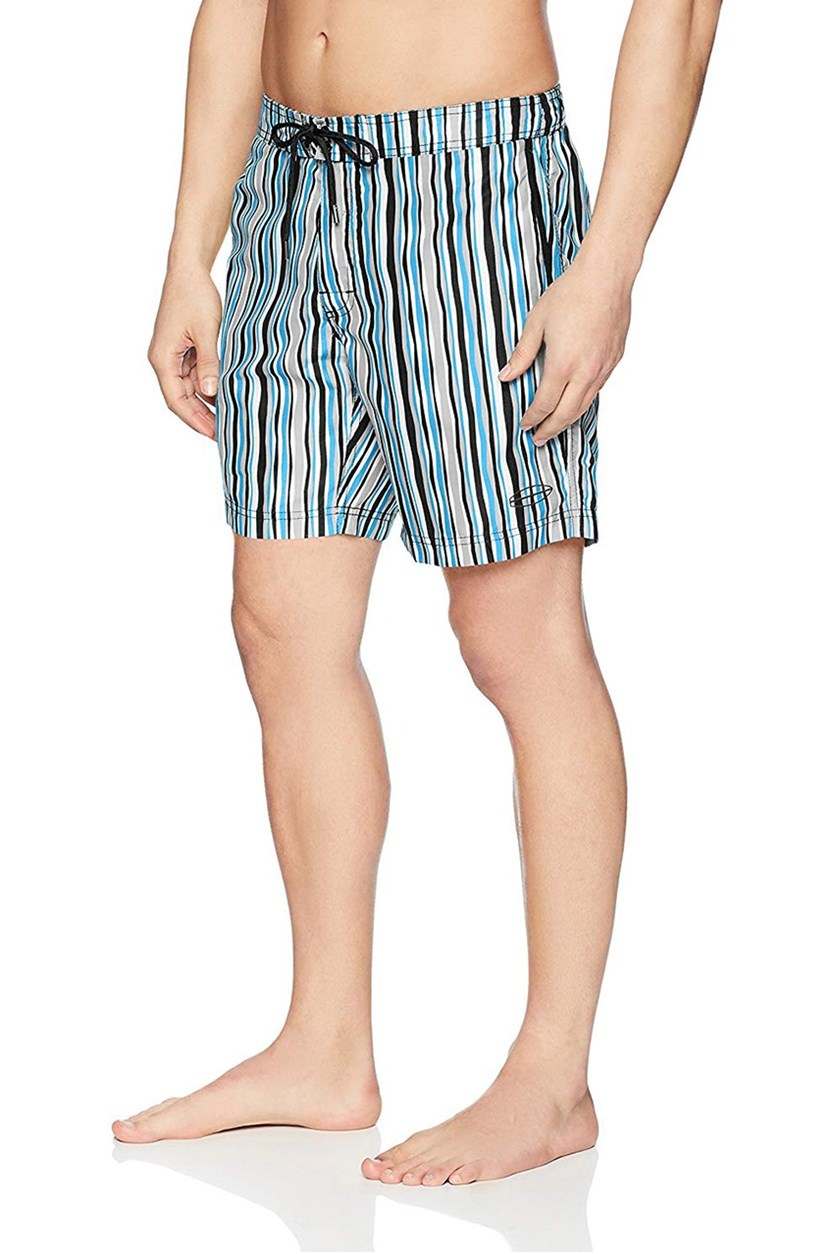Men's Wavy Stripe E-Board Short, Black Combo