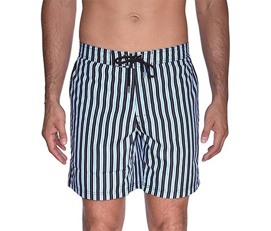 Men's Striped E-Board Shorts, Black