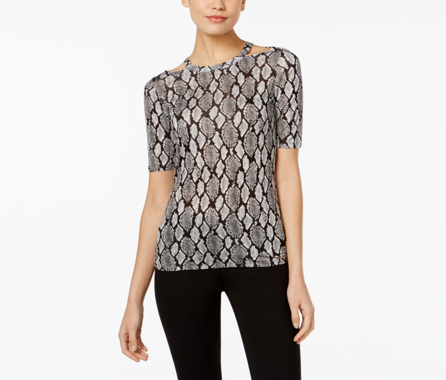 Michael Kors Cutout Printed Top, Black