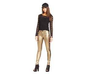 Tinselton Juniors Gold Metallic Skinny Stretch Jeans, Gold