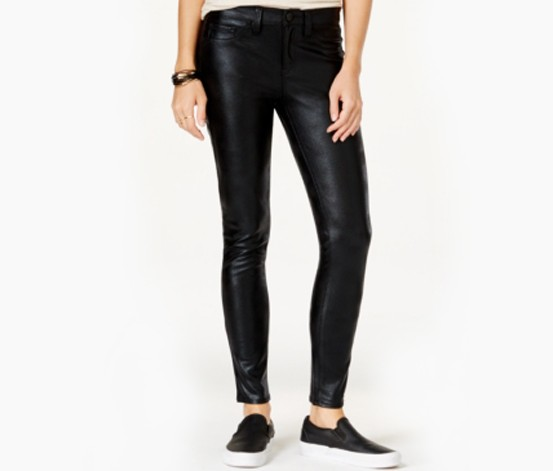 Tinseltown Juniors Faux Leather Skinny Shiny Zip, Black