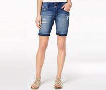 Tinseltown Juniors' Ripped Denim Bermuda Shorts, Mercede