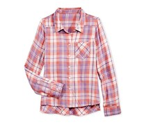 Tinsey Girls' Plaid High-Low Shirt,  Orange