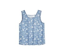 Tinsey Floral-Print Bar-Back Tank Top, Light Blue
