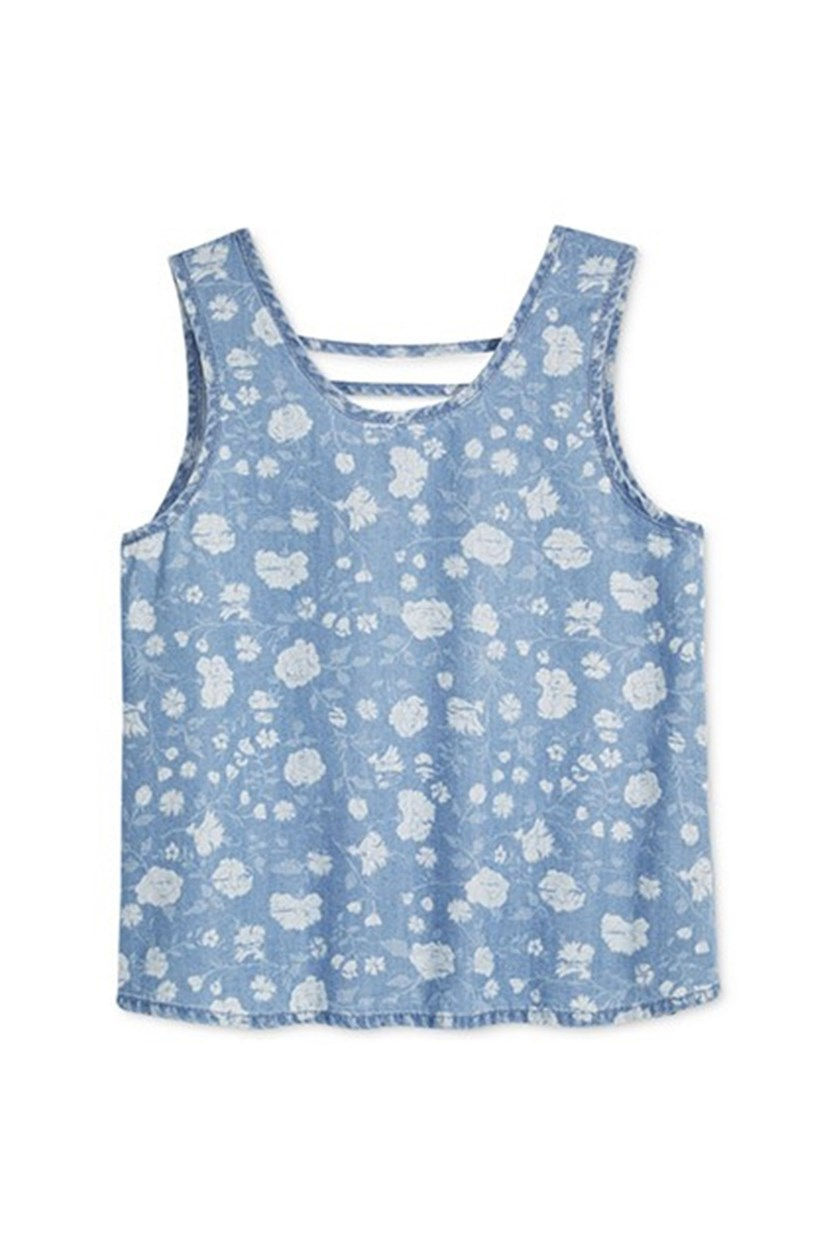 Floral-Print Bar-Back Tank Top, Light Blue