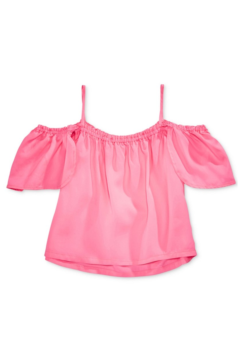 Cold-Shoulder Flutter Top, Hot Pink