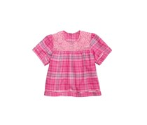 Tinsey Big Girls Plaid Lace Peasant Top, Pink
