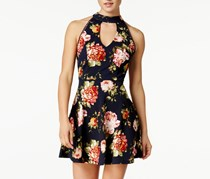 Crystal Doll Juniors' Floral-Print Fit & Flare Dress, Navy/Berry