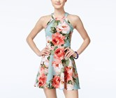 Crystal Doll Juniors Floral-Print Fit, Blue/Pink