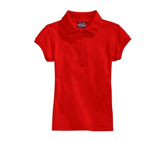 Girls' Ruffle-Placket Polo, Ero Red