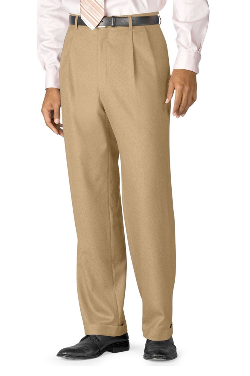 Mens Double Pleated Pants, Tan