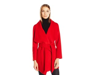 Women's Double Faced Wool Blend Wrap Coat with Patch Pockets, Red