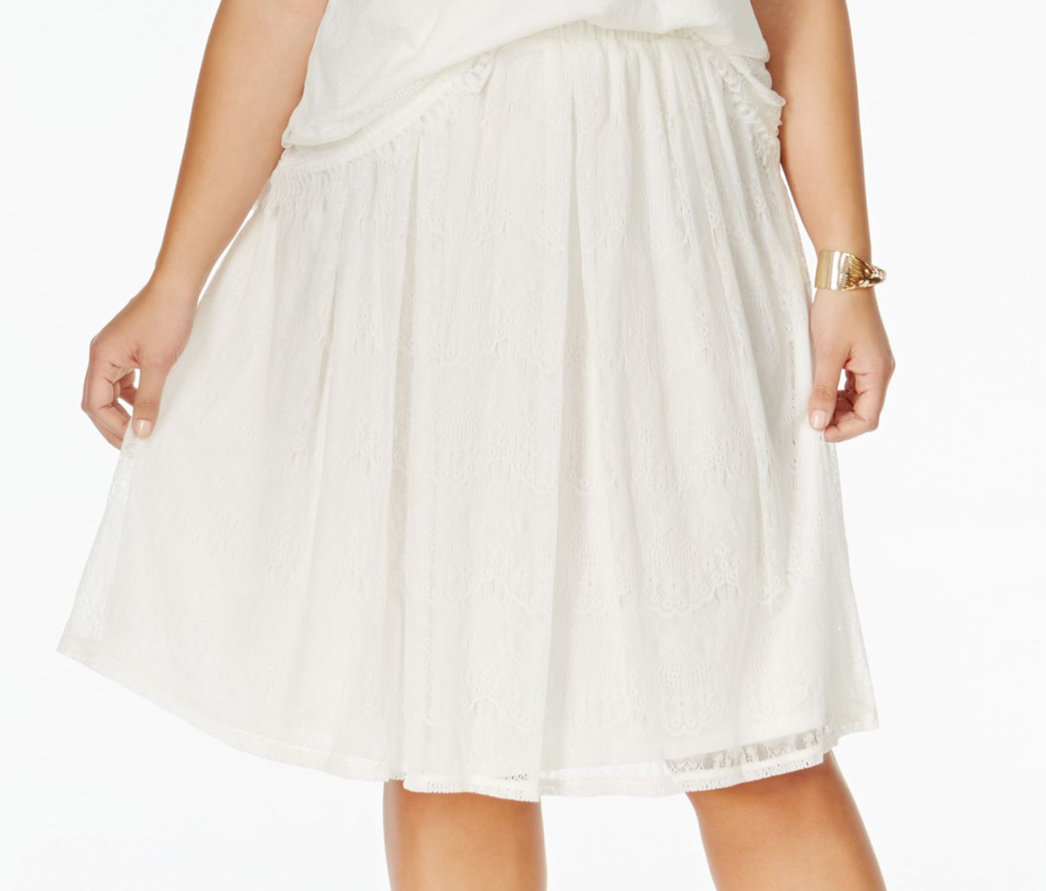 ING Plus Size Pull-On Lace A-Line, Off White