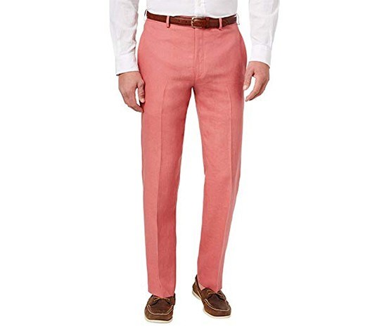 Men's Solid Linen Flat Front Dress Pants, Red