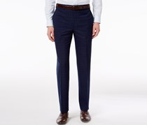 Mens Classic-Fit Windowpane, Navy