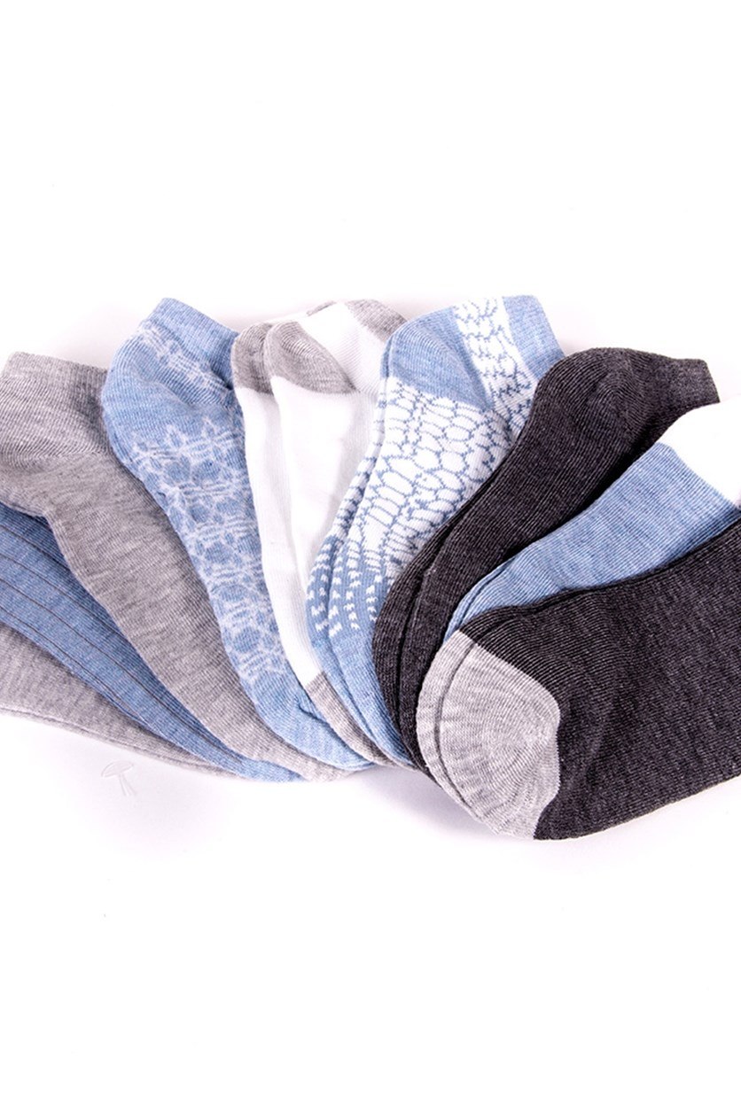 9 Pairs Low Cut Socks, Chambray