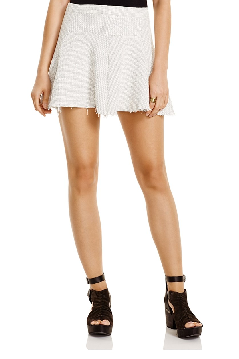 Sunshine Smile Tweed Skirt, Ivory/Black