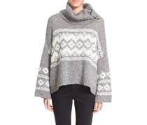 Free People Fair Isle Split Neck Sweater, Charcoal