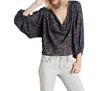 Free People Women's Cowl Neck Top, Midnight Combo
