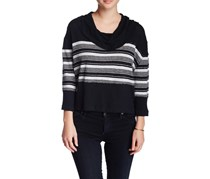 Seaside Striped Raw-Edge Top, Black Combo