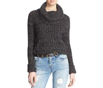 Free People Twisted Cable Sweater, Black Combo