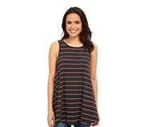 Free People Garden Striped Tunic Top, Charcoal Heather
