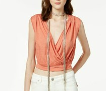 Free People Dream Cross Front Crop Top,Blood Orange