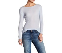 Women's V-Back Long Sleeve Tee Top,  Baby Blue